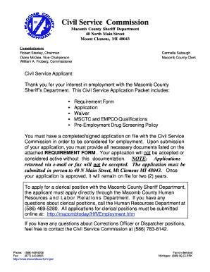Macomb County Civil Service Application Packet -- Corrections - macombcountymi