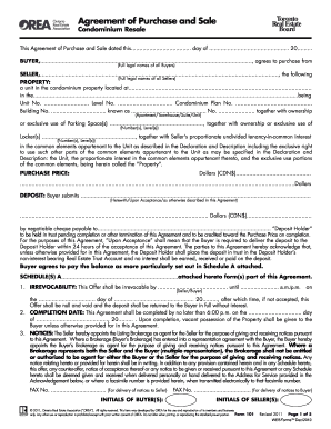 orea agreement of purchase and sale template  Orea Webforms Form 101 - Fill Online, Printable, Fillable, Blank ...