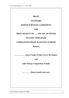 Fillable Online Standard Power Purchase Agreement Solar Energy
