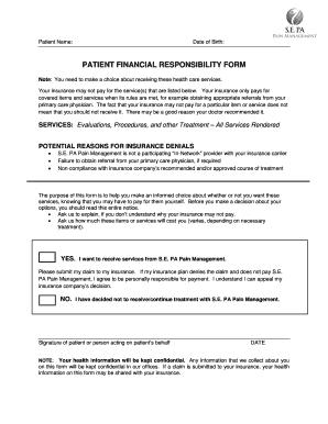 Fillable Online Patient financial responsibility form - SE PA Pain ...