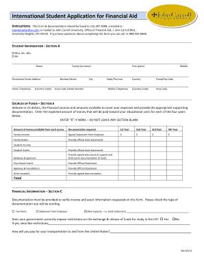 International Student Financial Aid Application Pdf John Carroll ...