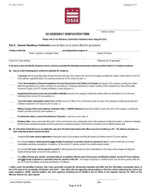 Fillable Online Osse Dc Dc Residency Verification Form Osse Osse Dc Fax Email Print Pdffiller