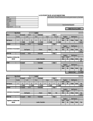 fillable online elac laccd student travel advance request form pdf