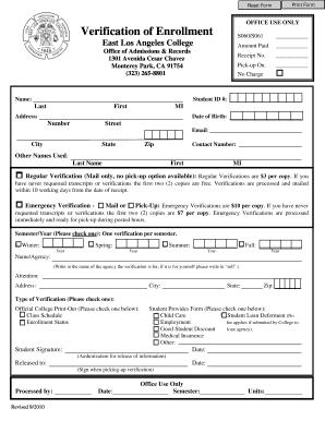 Fillable Online elac 18. Verification of Enrollment Form - East ...
