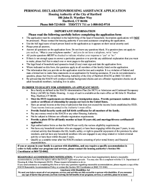 Personal declaration/housing assistance application - Hartford ...