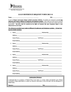 Loan reference request form 2013-14 - Bergen Community College