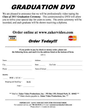 Graduation Dvd Order Form Word Document