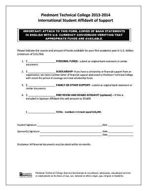 Affidavit of support form - Piedmont Technical College - ptc