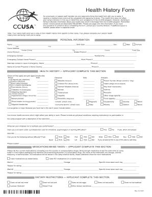 fillable online ccusa ccusa health history form 2014 ccusa fax