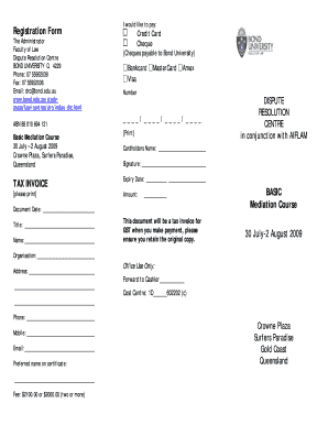 Registration Form TAX INVOICE BASIC Mediation ... - Bond University