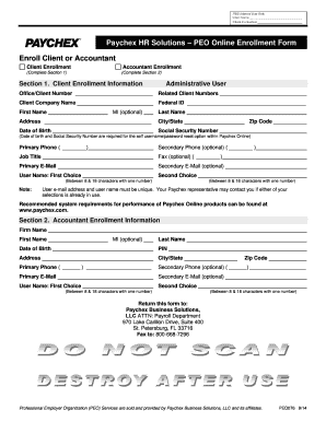 Fillable Online PEO Online Enrollment Form - Paychex ...