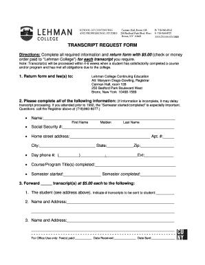 Fillable Online Lehman Continuing Education Transcript Request Form Lehman College Lehman Fax Email Print Pdffiller