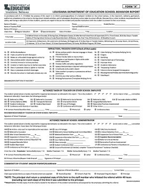 School Behavior Report Form A - Louisiana Department of Education