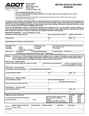 Motor vehicle record az fill online printable fillable for Az dept transportation motor vehicle division