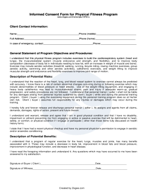 Fitness Consent Form - Fill Online, Printable, Fillable, Blank ...