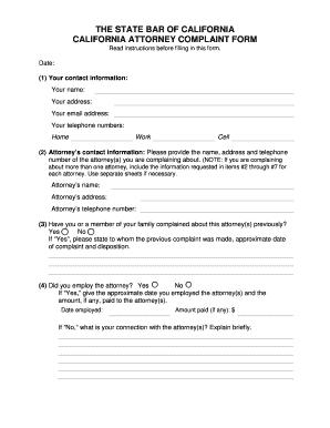 Editable California bar association complaints - Fill Out