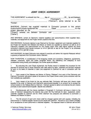 Joint Check Agreement Template - Fill Online, Printable, Fillable ...