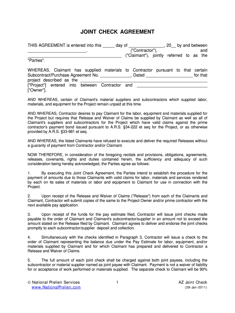 Joint Check Agreement Form Fill Online Printable Fillable Blank Pdffiller