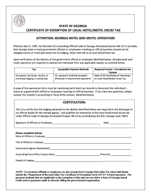Hotel Tax Exempt Form - Fill Online, Printable, Fillable, Blank ...