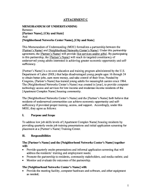 Memorandum Of Understanding Template Forms - Fillable & Printable ...