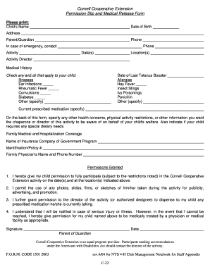 Permission Slip and Medical Release Form - Cornell Cooperative ...