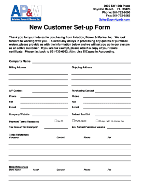 new customer setup form template