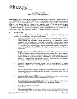 Carrier Account Master Service Agreement   Integra Telecom