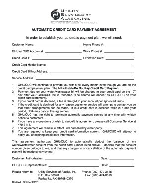 credit card payment agreement