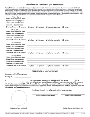 Fillable Online notary ID Verification form.doc. Application for ...
