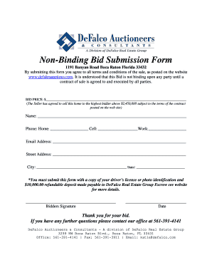 real estate bidding form