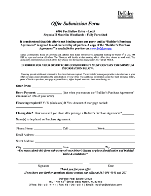 real estate offer submission form