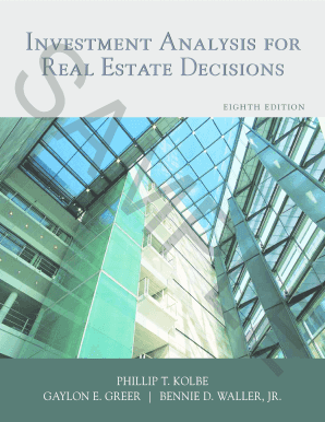 investment analysis for real estate decisions form