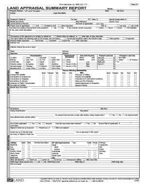 Fillable Online Land appraisal summary report land appraisal ...