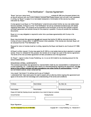 6 Printable Escrow Agreement Real Estate Forms And Templates