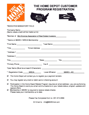 Fillable Online Download Home Depot Rebate Registration Form - Mid ...