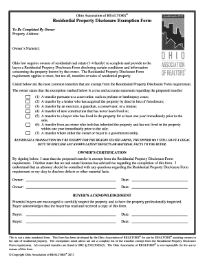 Fillable Online Residential Property Disclosure Exemption Form ...