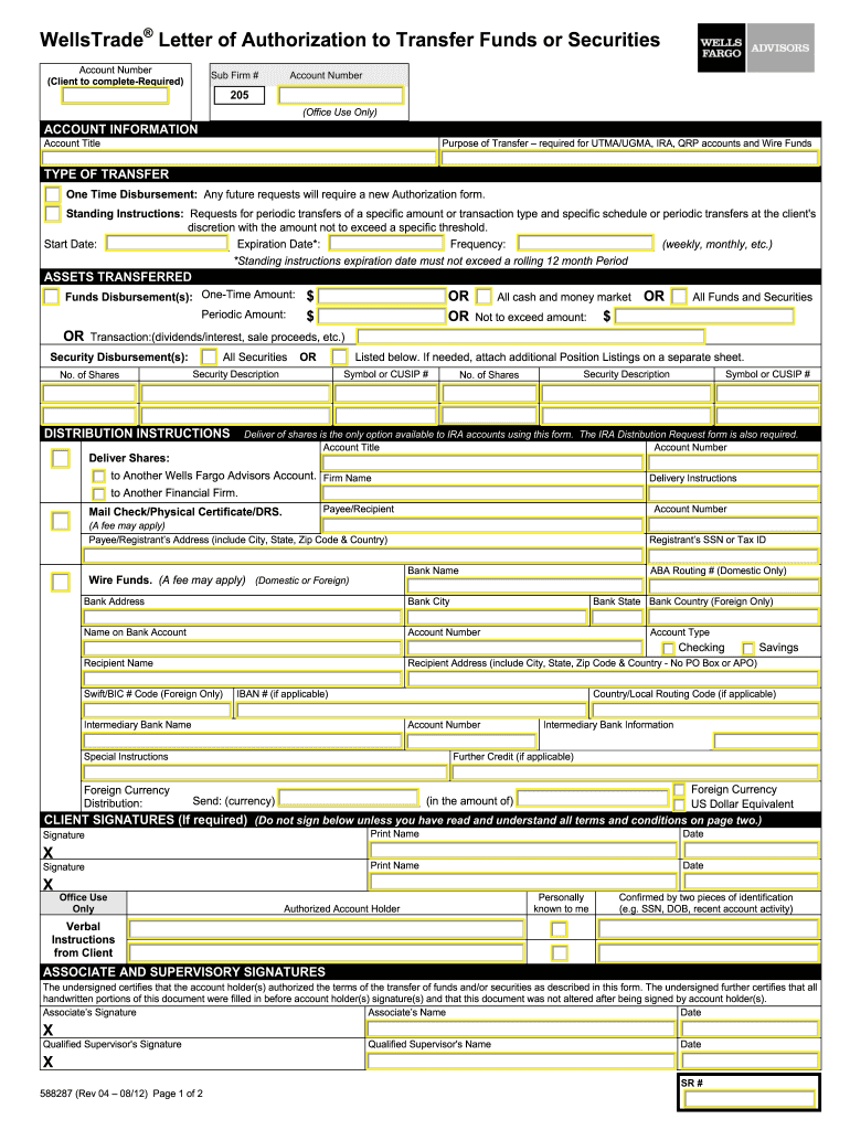 Wells Fargo Letter Of Authorization
