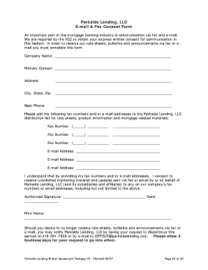 Parkside Lending, LLC E-mail & Fax Consent Form