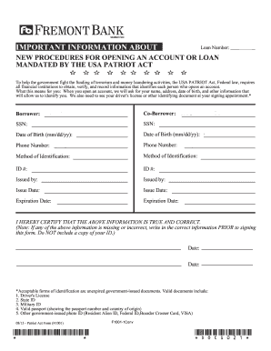 Fillable Online WH-00 Patriot Act Form - Fremont Bank Fax Email ...
