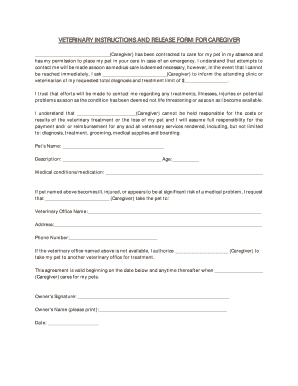 veterinary instructions and release form for caregiver