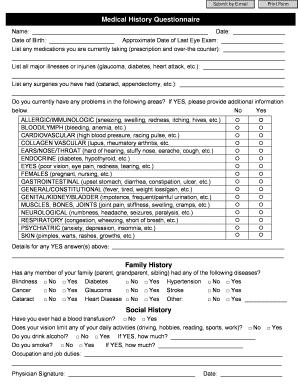 social history questionnaire