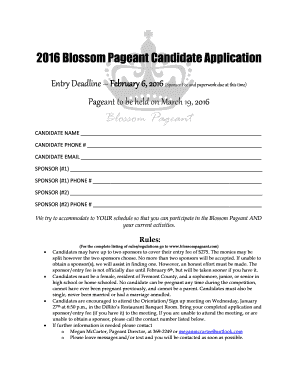 Spanish Speakers Demand Translation For >> 2016 Blossom Pageant Candidate Application Fill Online, Printable, Fillable, Blank - cleaning ...