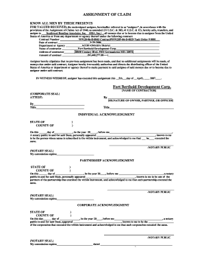 360 deal contract template - fillable assignment of claim template edit online