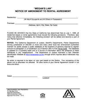 Megans law notice of amendment to rental agreement fill for 360 deal contract template