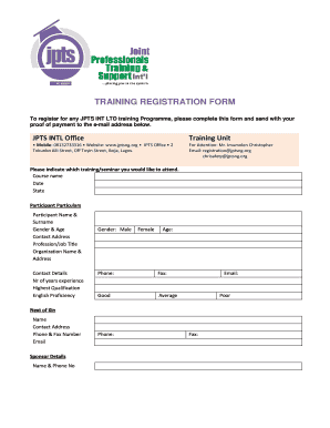 Training registration form template word edit fill print training registration form template word training registration form jpts online pronofoot35fo Image collections