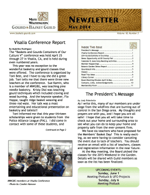 com Volume 18, Number 3 Visalia Conference Report INSIDE THIS ISSUE By Madeline Rodriguez The Baskets and Gourds Containers of Our Culture V conference was held April 25 through 27 in Visalia, CA, and is held during even numbered years