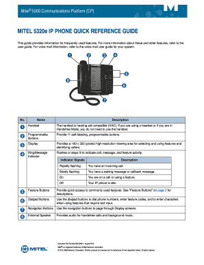 Fillable Online MITEL 5320e IP PHONE QUICK REFERENCE GUIDE