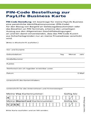 PIN Code Bestellung Zur PayLife Business Karte  Business Proposal Template Free Download