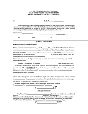 Fillable Online Judicial Attachment - Shelby County Courts