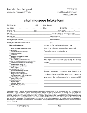 image regarding Printable Massage Intake Form named chair mage consumption variety - Fillable Printable Templates